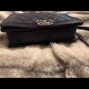 """CHANEL Bags - Le Boy iridescent """"gentle"""" nubuck Leather in blue"""